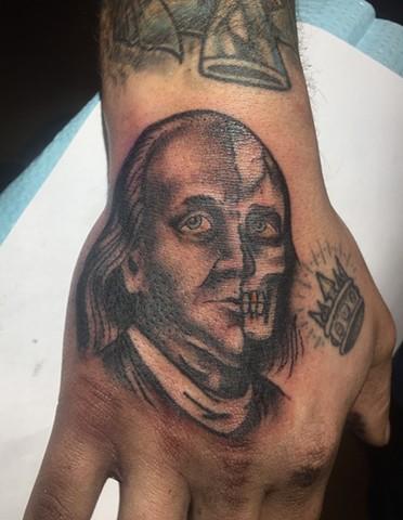 Benjamin Franklin tattoo, Provincetown tattoo, Cape Cod tattoo, Ptown tattoo, truro, wellfleet, custom tattoo, coastline tattoo