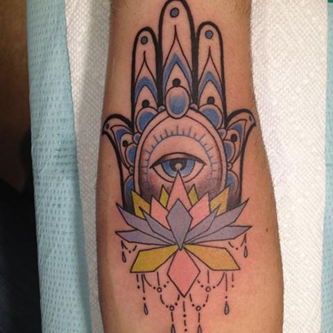 Hamsa Tattoo, Provincetown tattoo, Cape Cod tattoo, Ptown tattoo, truro tattoo, wellfleet tattoo, custom tattoo, coastline tattoo