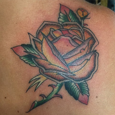 rose tattoo, flower tattoo, floral tattoo, Provincetown tattoo, Cape Cod tattoo, Ptown tattoo, truro, wellfleet, custom tattoo, coastline tattoo