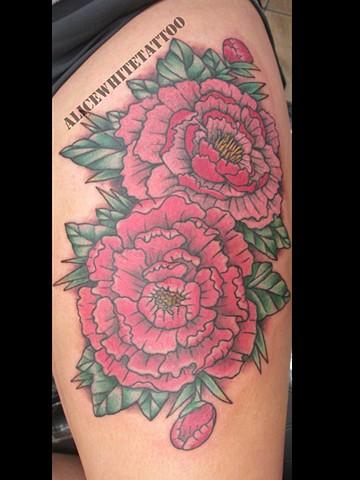 Alice White - Pink Peonies, flower tattoo, floral tattoo, Provincetown tattoo, Cape Cod tattoo, Ptown tattoo, truro tattoo, wellfleet tattoo, custom tattoo, coastline tattoo