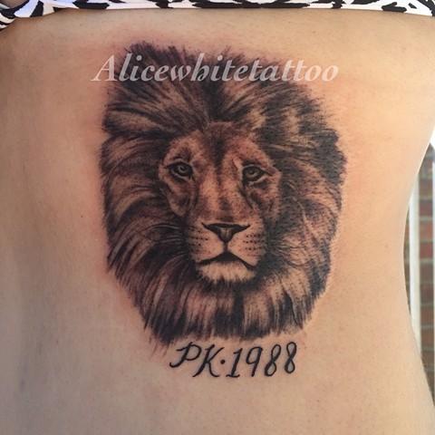 Black and Gray Lion Tattoo, Provincetown tattoo, Cape Cod tattoo, Ptown tattoo, truro, wellfleet, custom tattoo, coastline tattoo