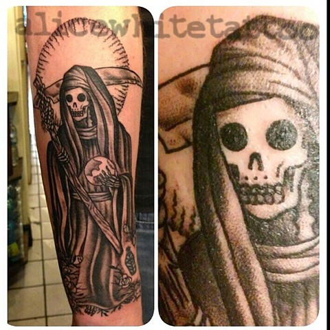 Black and Gray Grim Reaper tattoo, Provincetown tattoo, Cape Cod tattoo, Ptown tattoo, truro, wellfleet, custom tattoo, coastline tattoo