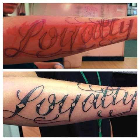 Daniel Emery Jr. - script, lettering tattoo, Provincetown tattoo, Cape Cod tattoo, Ptown tattoo, truro tattoo, wellfleet tattoo, custom tattoo, coastline tattoo
