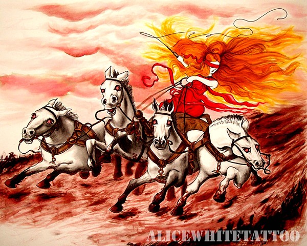Alice White - Sunday Ride, watercolor painting, art, Provincetown tattoo, Cape Cod tattoo, Ptown tattoo, truro tattoo, wellfleet tattoo, custom tattoo, coastline tattoo
