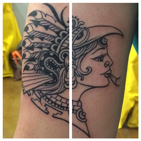 aztec goddess, xochiquetzal, tattoo, religious tattoo, Provincetown tattoo, Cape Cod tattoo, Ptown tattoo, truro, wellfleet, custom tattoo, coastline tattoo
