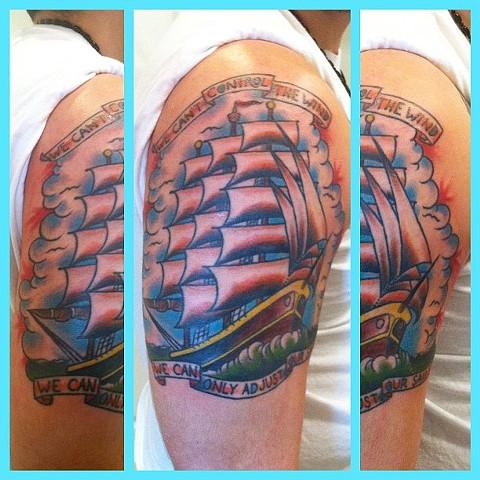 Charles Rouse - clipper ship tattoo, Provincetown tattoo, Cape Cod tattoo, Ptown tattoo, truro tattoo, wellfleet tattoo, custom tattoo, coastline tattoo
