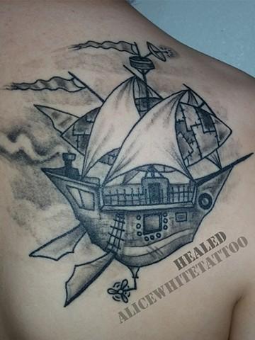 Alice White - Steampunk Airship, black and grey tattoo, Provincetown tattoo, Cape Cod tattoo, Ptown tattoo, truro tattoo, wellfleet tattoo, custom tattoo, coastline tattoo