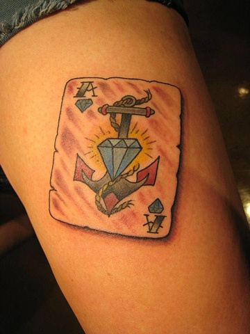 playing card anchor diamond, custom tattoo, Provincetown, Cape Cod, Coastline, Ptown