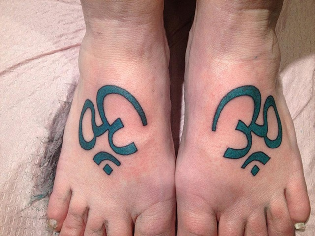 sacred om symbol feet, custom tattoo, Provincetown, Cape Cod, Coastline, Ptown