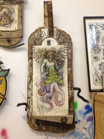 mermaid watercolor, assemblage, 3' high, art, painting, Provincetown, Cape Cod, Coastline, Ptown