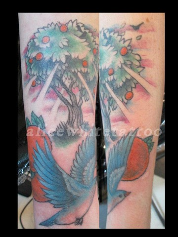 Alice White - bluebird and orange tree, Provincetown tattoo, Cape Cod tattoo, P-Town tattoo, custom tattoo, coastline tattoo