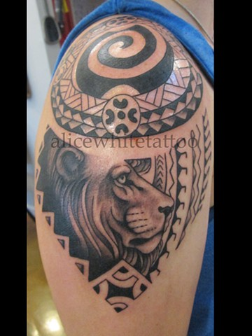 Alice White - Polynesian Lion, Provincetown tattoo, Cape Cod tattoo, Ptown tattoo, truro tattoo, wellfleet tattoo, custom tattoo, coastline tattoo
