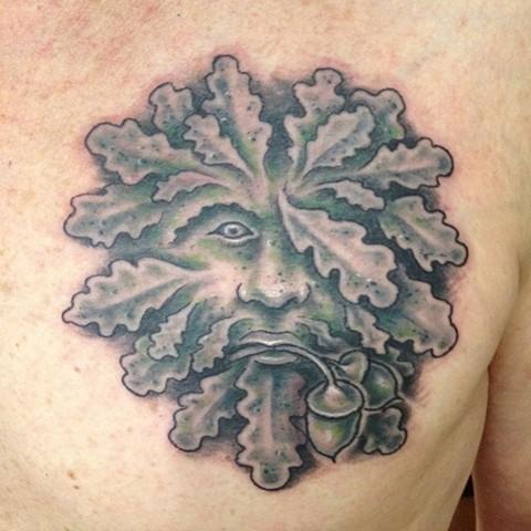 Green Man tattoo, Provincetown tattoo, Cape Cod tattoo, Ptown tattoo, truro tattoo, wellfleet tattoo, custom tattoo, coastline tattoo