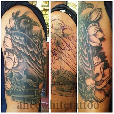 raven tattoo, flower tattoo, book tattoo, magnolia tattoo, Provincetown tattoo, Cape Cod tattoo, Ptown tattoo, truro, wellfleet, custom tattoo, coastline tattoo