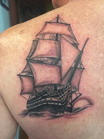 black and gray tattoo, ship tattoo, Provincetown tattoo, Cape Cod tattoo, Ptown tattoo, truro, wellfleet, custom tattoo, coastline tattoo