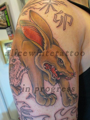Alice White - Vicious bunny, Provincetown tattoo, Cape Cod tattoo, P-Town tattoo, custom tattoo, coastline tattoo