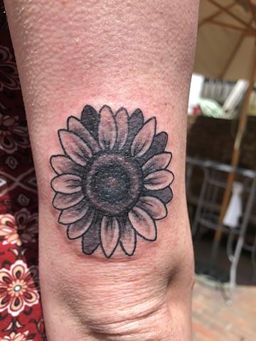 Black and grey, flower, garden, sun, shine, Provincetown tattoo, Cape Cod tattoo, Ptown tattoo, truro, wellfleet, custom tattoo, coastline tattoo