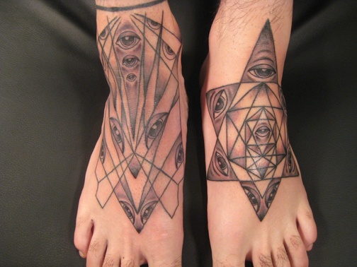 feet - sacred geometry, black and grey, custom tattoo, Provincetown, Cape Cod, Coastline, Ptown