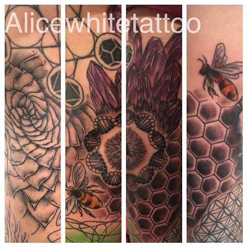Sacred Geometry Sleeve, oneybee tattoo, agave tattoo, honeycomb tattoo, crystal tattoo, dna tattoo, Provincetown tattoo, Cape Cod tattoo, Ptown tattoo, truro tattoo, wellfleet tattoo, custom tattoo, coastline tattoo