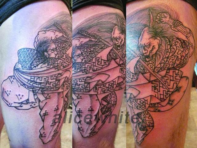 Alice White - line work, black and grey samurai, Provincetown tattoo, Cape Cod tattoo, Ptown tattoo, truro tattoo, wellfleet tattoo, custom tattoo, coastline tattoo