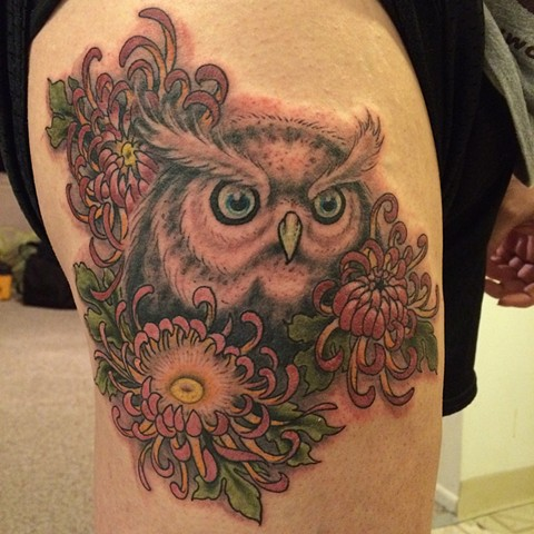 owl tattoo, chrysanthemum tattoo, Provincetown tattoo, Cape Cod tattoo, Ptown tattoo, truro, wellfleet, custom tattoo, coastline tattoo