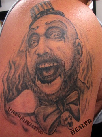 Alice White - Captain Spaulding portrait tattoo, Provincetown tattoo, Cape Cod tattoo, Ptown tattoo, truro tattoo, wellfleet tattoo, custom tattoo, coastline tattoo
