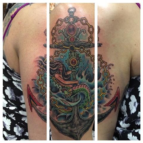 mermaid tattoo, anchor tattoo, nautical tattoo, Provincetown tattoo, Cape Cod tattoo, Ptown tattoo, truro, wellfleet, custom tattoo, coastline tattoo