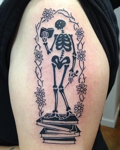 black tattoo, skeleton tattoo, ed gorey tattoo,  Provincetown tattoo, Cape Cod tattoo, Ptown tattoo, truro, wellfleet, custom tattoo, coastline tattoo