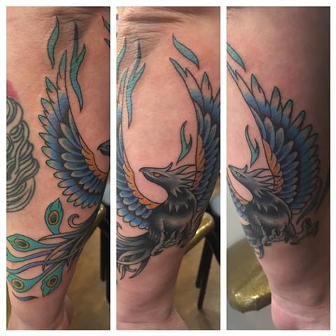 Blue, Phoenix, bird, animal, best friend tattoos, Provincetown tattoo, Cape Cod tattoo, Ptown tattoo, truro, wellfleet, custom tattoo, coastline tattoo