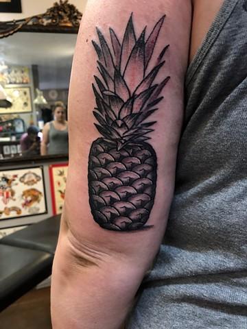 fruit, black and grey, fun, cute, Provincetown tattoo, Cape Cod tattoo, Ptown tattoo, truro, wellfleet, custom tattoo, coastline tattoo