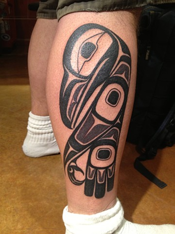 haida raven, Provincetown tattoo, Cape Cod tattoo, Ptown tattoo, truro tattoo, wellfleet tattoo, custom tattoo, coastline tattoo