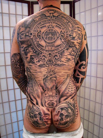 pre columbian backpiece, aztec sundial, black and grey, Provincetown tattoo, Cape Cod tattoo, Ptown tattoo, truro tattoo, wellfleet tattoo, custom tattoo, coastline tattoo