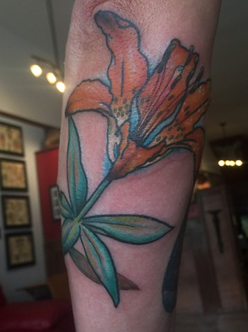lily tattoo, flower tattoo, Provincetown tattoo, Cape Cod tattoo, Ptown tattoo, truro, wellfleet, custom tattoo, coastline tattoo
