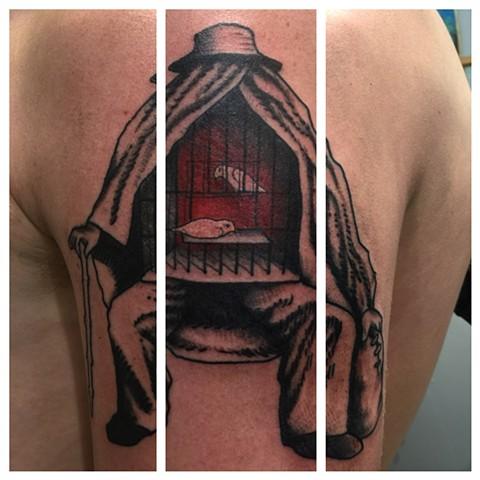 magritte tattoo, Provincetown tattoo, Cape Cod tattoo, Ptown tattoo, truro, wellfleet, custom tattoo, coastline tattoo