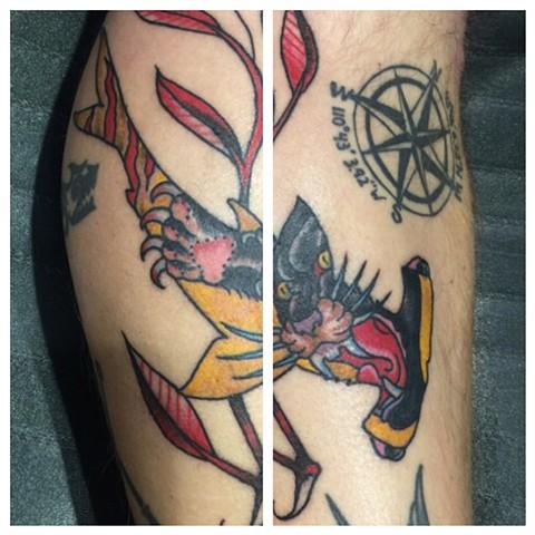 hammerhead shark tattoo, panther tattoo, Provincetown tattoo, Cape Cod tattoo, Ptown tattoo, truro, wellfleet, custom tattoo, coastline tattoo