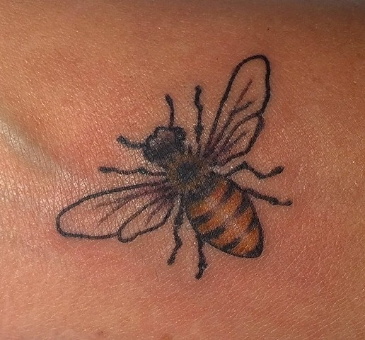 Honey bee, sweet, queen, bee, honeycomb,Provincetown tattoo, Cape Cod tattoo, Ptown tattoo, truro, wellfleet, custom tattoo, coastline tattoo