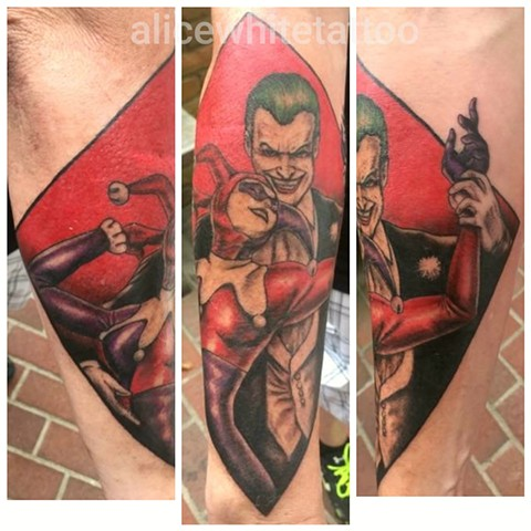 joker tattoo, harley quinn tattoo, dc comics, Provincetown tattoo, Cape Cod tattoo, Ptown tattoo, truro, wellfleet, custom tattoo, coastline tattoo