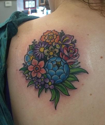flower tattoo, floral tattoo, cover up tattoo, Provincetown tattoo, Cape Cod tattoo, Ptown tattoo, truro, wellfleet, custom tattoo, coastline tattoo
