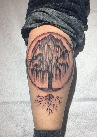 willow tree tattoo, plant tattoo, Provincetown tattoo, Cape Cod tattoo, Ptown tattoo, truro, wellfleet, custom tattoo, coastline tattoo