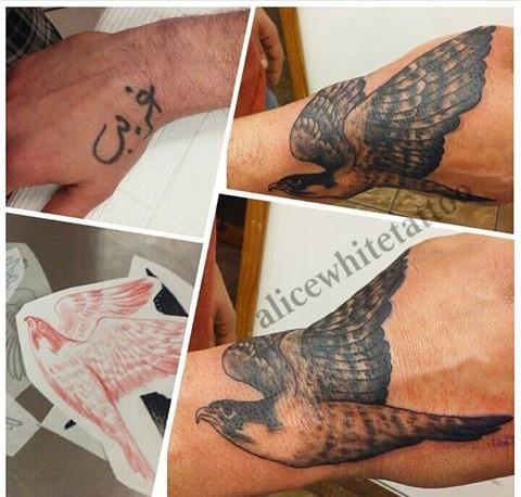 hawk tattoo, cover up tattoo, black and gray tattoo, Provincetown tattoo, Cape Cod tattoo, Ptown tattoo, truro, wellfleet, custom tattoo, coastline tattoo