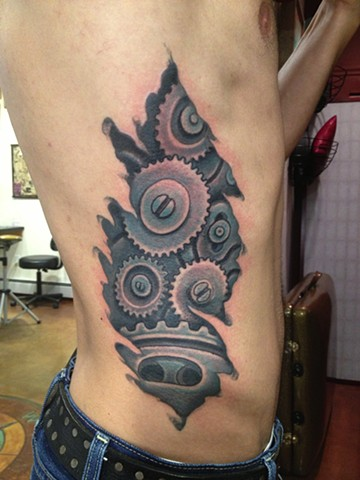 biomechanical gears, Provincetown tattoo, Cape Cod tattoo, Ptown tattoo, truro tattoo, wellfleet tattoo, custom tattoo, coastline tattoo