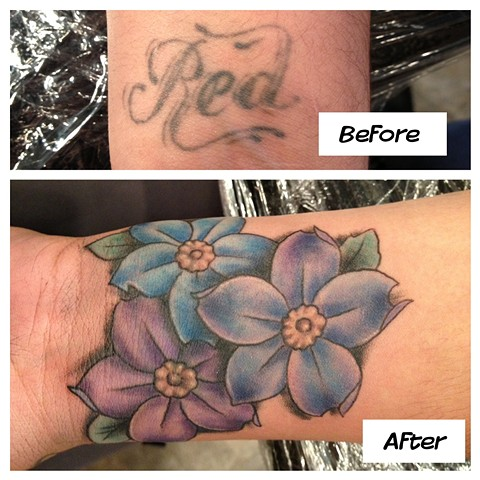 Tina Marie DeCarlo - flower cover-up tattoo,  Provincetown tattoo, Cape Cod tattoo, Ptown tattoo, truro tattoo, wellfleet tattoo, custom tattoo, coastline tattoo