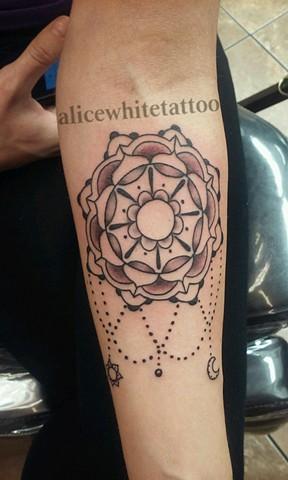 mandala tattoo, black and gray tattoo, Provincetown tattoo, Cape Cod tattoo, Ptown tattoo, truro, wellfleet, custom tattoo, coastline tattoo