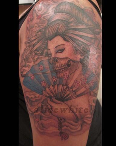 Alice White - Skeleton Geisha tattoo, Provincetown tattoo, Cape Cod tattoo, Ptown tattoo, truro tattoo, wellfleet tattoo, custom tattoo, coastline tattoo