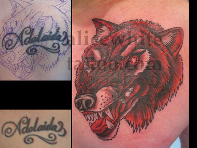 Alice White - Red Wolf Cover-up tattoo, Provincetown tattoo, Cape Cod tattoo, Ptown tattoo, truro tattoo, wellfleet tattoo, custom tattoo, coastline tattoo