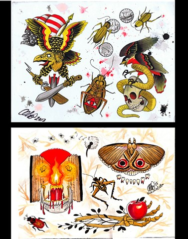 Alice White - Roaches, Moths, and Teeth, watercolor painting, Provincetown tattoo, Cape Cod tattoo, Ptown tattoo, truro tattoo, wellfleet tattoo, custom tattoo, coastline tattoo