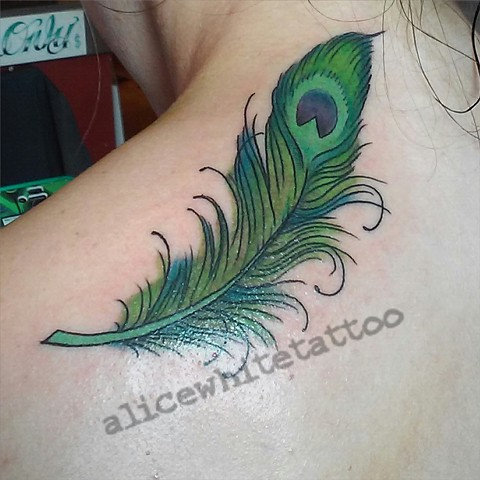 Peacock Feather Tattoo, Provincetown tattoo, Cape Cod tattoo, Ptown tattoo, truro tattoo, wellfleet tattoo, custom tattoo, coastline tattoo