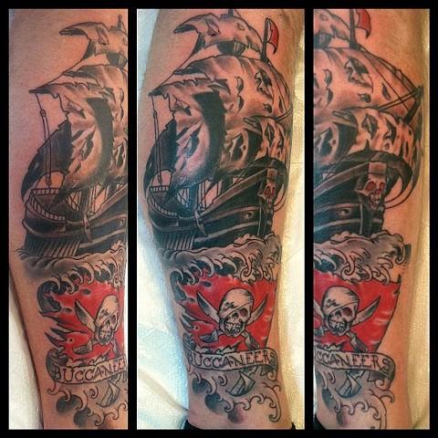 Charles Rouse - pirate ship tattoo,  Provincetown tattoo, Cape Cod tattoo, Ptown tattoo, truro tattoo, wellfleet tattoo, custom tattoo, coastline tattoo