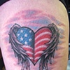 American Winged-heart, patriotic, custom tattoo, Provincetown, Cape Cod, Coastline, Ptown