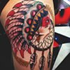Daniel Emery Jr. - native American girl head with dream catcher tattoo